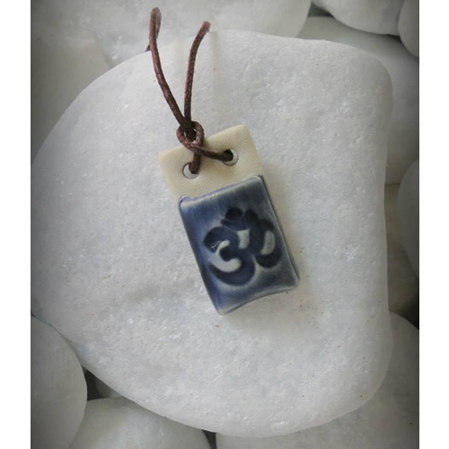 Therapeutic Necklace OM Square Blue