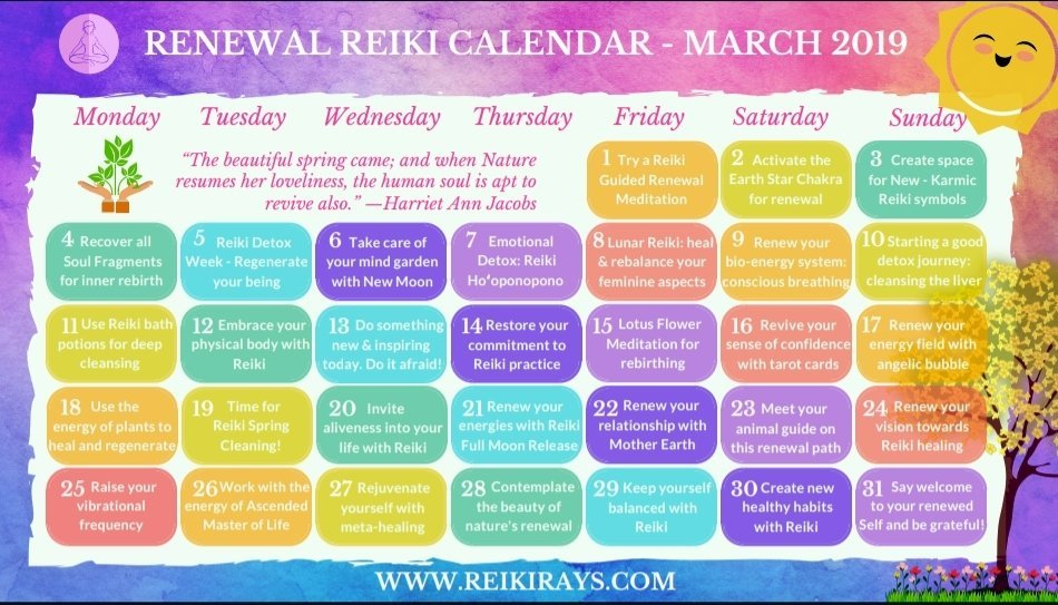 March Reiki Calendar