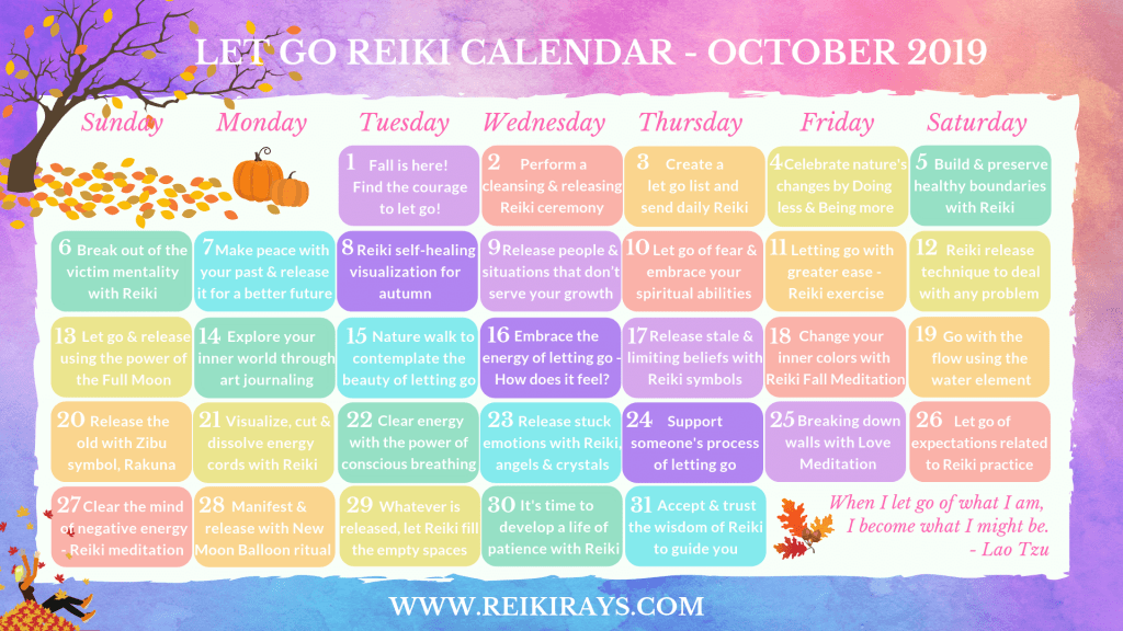 Reiki October Calendar by Reiki Rays